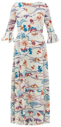 Le Sirenuse Le Sirenuse, Positano - Bella Magic Flower-print Cotton-voile Dress - Womens - Cream Print