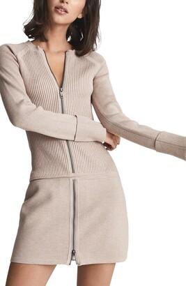 Reiss Ashleigh Long Sleeve Ribbed Sweater Dress