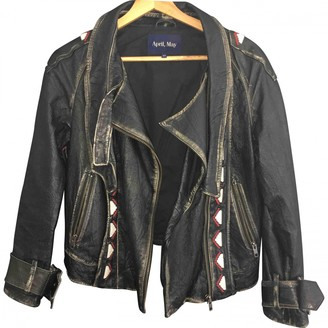 April May Black Leather Leather Jacket for Women