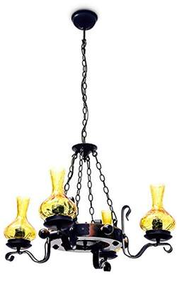 Relaxdays Medieval Style Rustic Pendant Ceiling Light with 4 Light Bulb Arms and 4 Glass Globe Shades
