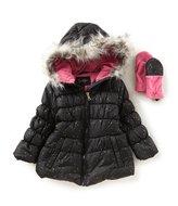 Jessica Simpson Little Girls 4-6X Faux-Fur Trim Puffer Jacket & Mittens Set