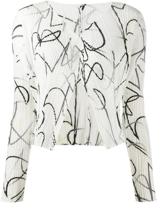 Pleats Please Issey Miyake Printed Pleated Jacket
