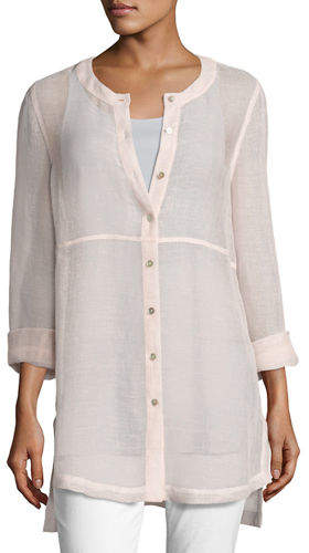 Eileen Fisher Woven Linen Mesh Round-Neck Top, Opal, Plus Size