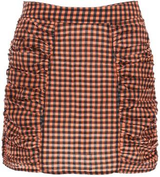 Ganni Seersucker Check Mini Skirt