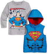 Nannette Little Boys' 2-Pc. Superman Hooded Vest & T-Shirt Set