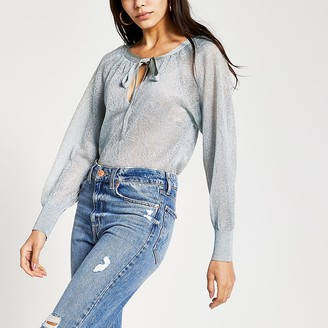 River Island Silver sheer knitted blouse