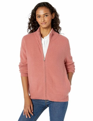 Daily Ritual Cozy Boucle Zip-front Cardigan Sweater Dusty Rose Medium
