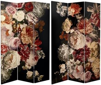 Oriental Furniture Handmade 6' Canvas Vintage Flowers Room Divider