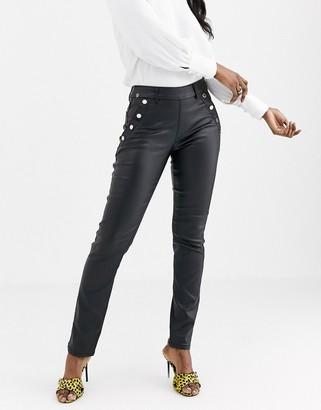 Morgan pu trouser in black