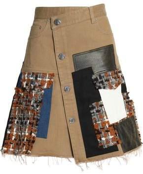 Sonia Rykiel Asymmetric Patchwork Denim Faux Leather And Bouclé-Tweed Skirt