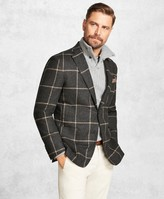 Brooks Brothers Golden Fleece Charcoal with Camel Windowpane Sport Coat
