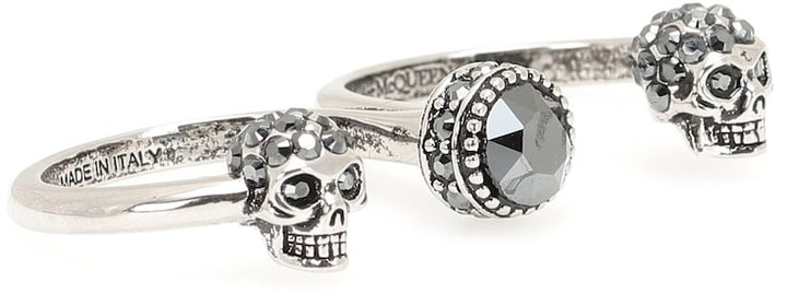 Alexander McQueen Double Mini Skull embellished ring