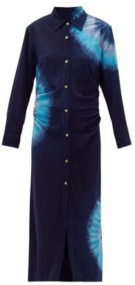 The Elder Statesman Magic Tie-dye Pilled-silk Midi Shirt Dress - Womens - Navy