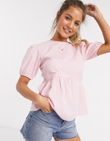 Thumbnail for your product : New Look babydoll puff sleeve blouse in pink