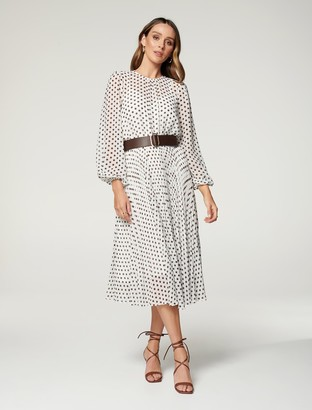 Forever New Fiona Pleat Belted Midi Dress - Light Porcelain Havana Spot - 10