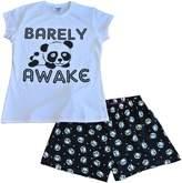 thepajamafactory Super Cool Barely Awake Girls Panda Bear Short Pajamas Pj 12 14