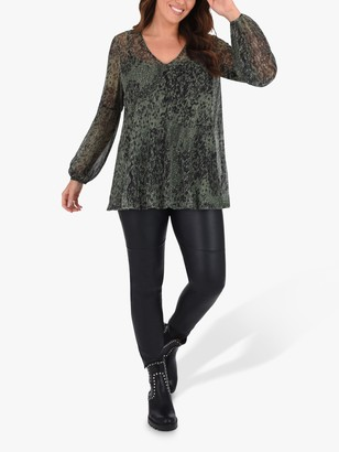 Live Unlimited Curve Blouson Sleeve Abstract Print Blouse, Green/Multi
