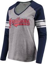 G Iii Women's G-III 4Her by Carl Banks Gray/Navy Cleveland Indians Franchise Tri-Blend Raglan Long Sleeve T-Shirt