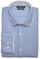 Tailorbyrd Blue & White Check Non-Iron Trim Fit Dress Shirt