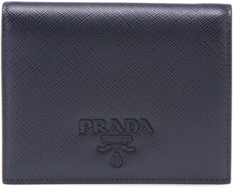 Prada Monochromatic Logo Saffiano Leather Wallet
