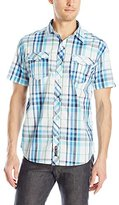 Southpole Men's Plaid Woven Short Sleeve Shirt with Fine Plaid Patterns