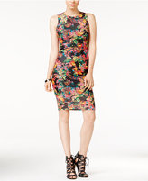 GUESS Printed Shadow-Striped Sheath Dress