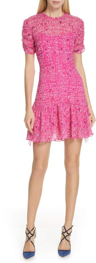 Tanya Taylor Carti Pintuck Silk Chiffon Dress