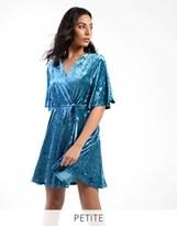 Glamorous Petite Velvet Wrap Front Dress