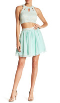 Speechless Lace Cutout Top and Solid Skirt Set