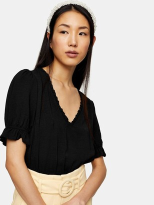Topshop Morgan Tea Top - Black