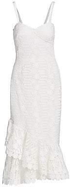 ML Monique Lhuillier Women's Lace Sleeveless Asymmetric Flounce Midi Sheath Dress - Size 0