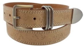 Fashion Focus Accessories Flower Embossed Casual Leather Belt with 3pc Keeper