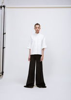 R 13 white cropped short sleeve oxford big
