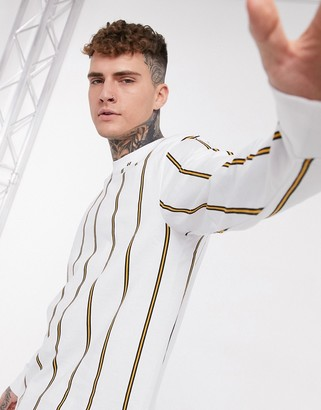 Topman long sleeve striped t-shirt in white