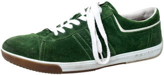 Prada Green Suede Cap Toe Lace Up Sneakers Size 43