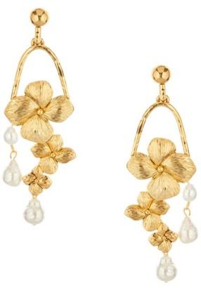 Oscar de la Renta 24K Goldplated Flower & Faux-Pearl Drop Earrings
