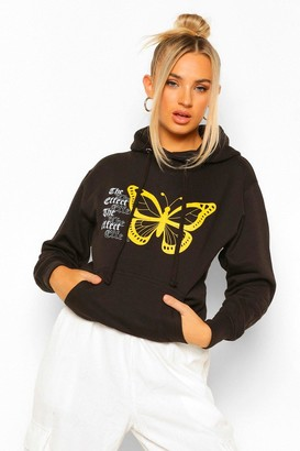 boohoo 'The Effect' Butterfly Print Hoody