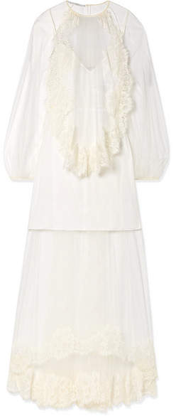 Stella McCartney Lace-trimmed Tulle Gown - Ivory