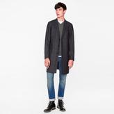 Paul Smith Men's Black Checked Wool-Blend Overcoat