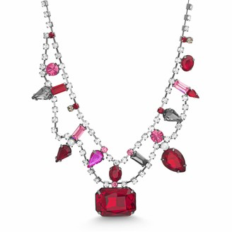 Steve Madden Women's Red and Pink Multi Shape Rhinestone Gunmetal-Tone Collar Necklace