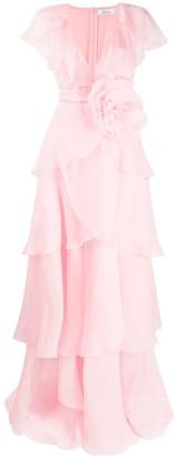 Blumarine Short Sleeve Ruffled Maxi Dress