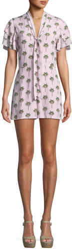 Alice + Olivia Macall Ruffle Short-Sleeve Palm-Tree Print Romper