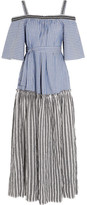 Lemlem Amara Embroidered Striped Cotton Maxi Dress - Blue