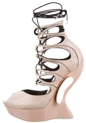 Alexander McQueen Python Lace-Up Wedges
