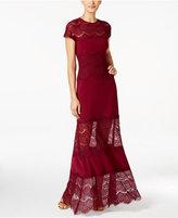Betsy & Adam Illusion-Hem A-Line Gown