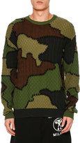 Moschino Camouflage Virgin Wool Patchwork Sweater