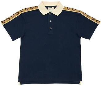 Gucci Cotton Piquet Polo Shirt W/ Logo Bands