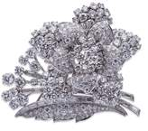18K White Gold 25.00 ct Diamond Flower Brooch