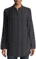 Johnny Was Patule Button-Front Embroidered Georgette Shirt