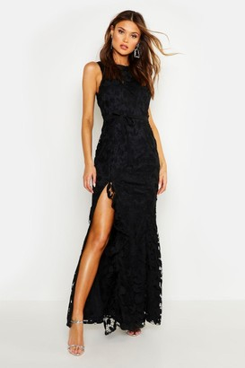 boohoo Lace Ruffle Split Maxi Dress